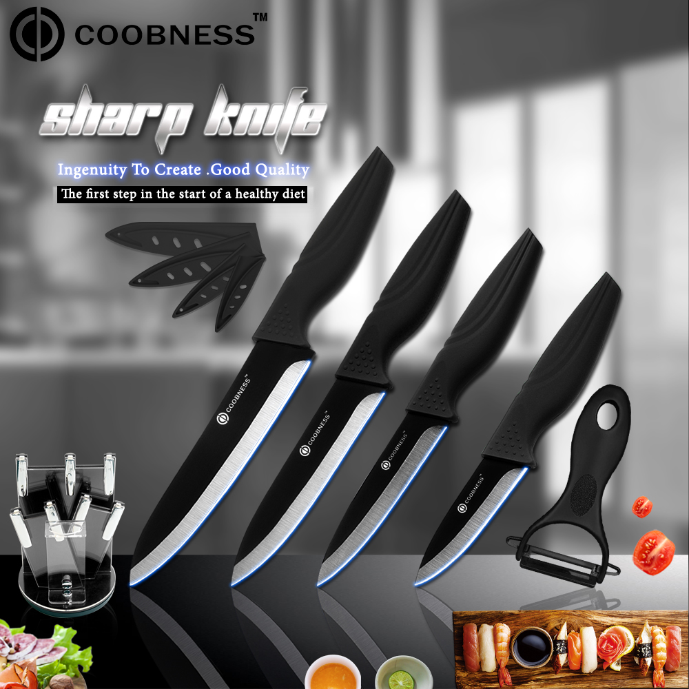COOBNESS Kitchen Ceramic Knives Black 360 Degree Rotation Knife Holder+Peeler High Quality 3+4+5+6 inch Set