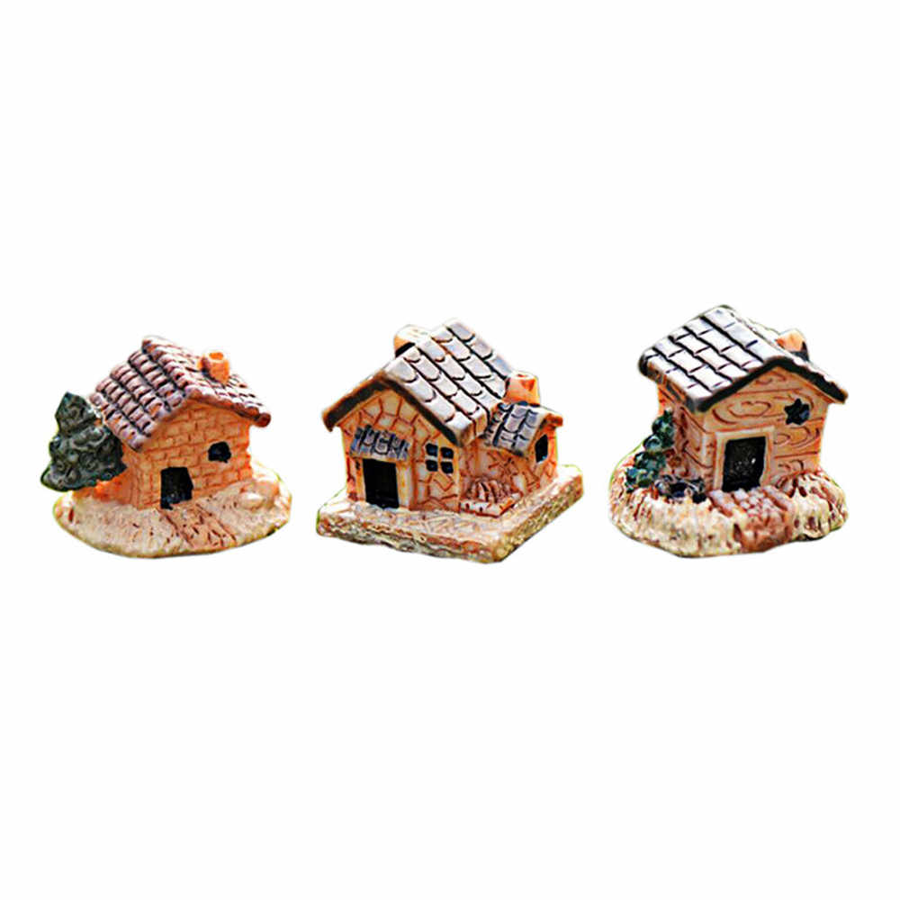 Figurine Mini Dollhouse Stone House Resin For Home Artificial DIY Mini Craft Cottage Landscape Decoration Accessories 2019