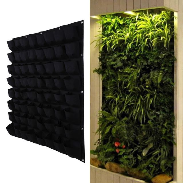 64 Pocket Hanging Vertical Garden Planter Indoor Outdoor Herb Pot Plant  Living Garden Bag Gardening Green