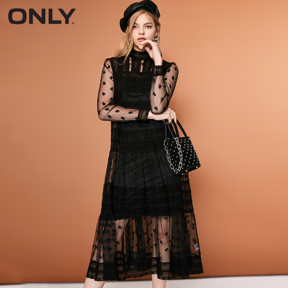 ONLY  Womens' Autumn And Winter New Lace Mesh Dress Adjustable Camisole|118361531