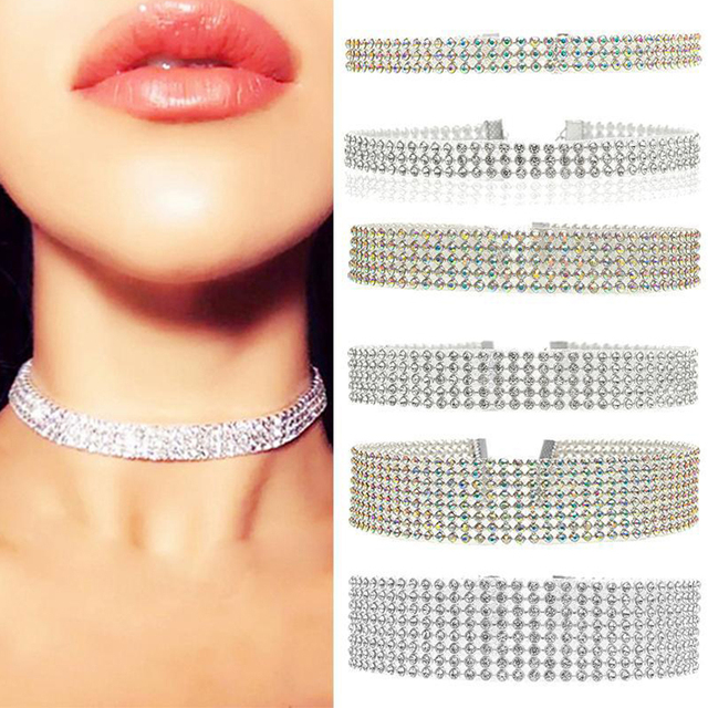 Women's Full Crystal Rhinestone Choker Chain Necklace