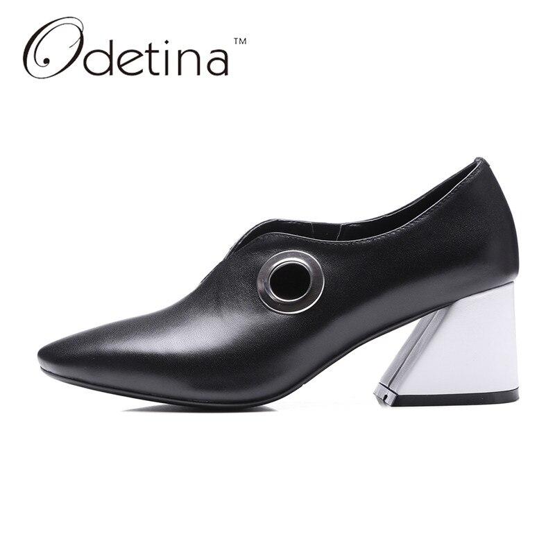 ФОТО Odetina 2017 Fashion Genuine Leather Women Retro Pumps Shoes Chunky Heel Square Toe High Heels Ladies Dress Shoes Big Size 32-43