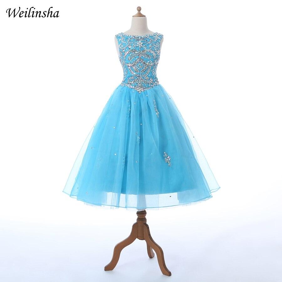 Weilinsha Beaded   Flower     Girl     Dresses   A-line Long Communication   Dress   For Prom Evening Gowns Vestidos de comunion