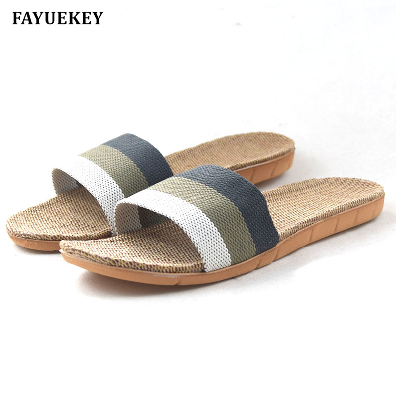 FAYUEKEY 2018 New Fashion Summer Home Linen Non-slip Breathable Slippers Men Indoor\Floor Outdoor Beach Boys Flat Slides Shoes fayuekey new fashion summer home striped linen slippers women indoor floor non slip beach slides flat shoes girls gift