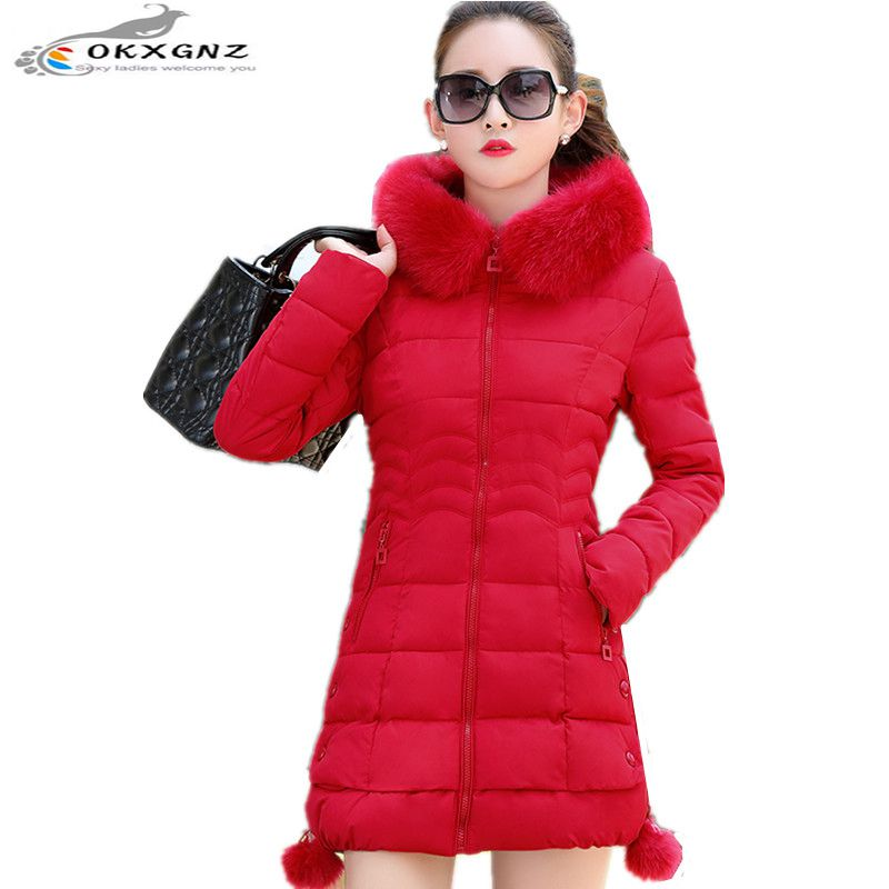 OKXGNZ 2017 New Fashion Winter Women Coat Thicken Big yards Medium Long Cotton Jacket coat Hooded fur Collar Jacket Jacket A013 цены онлайн