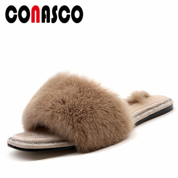 CONASCO Top Quality Brand Women Rabbit Fur Summer Shoes Flats Heels Hot Luxury Party Prom Casual Shoes Woman New Party Shoes