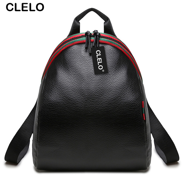 CLELO Fashion Backpacks Women PU School Bag For Girls 2016 Backpacks Female Travel Shoulder Bag Waterproof Ladies Black Backpack