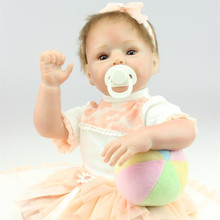22 Inches Big Eyes Silicone Reborn Baby Doll with Magnetic 55 cm Lifelike Realistic Princess Newborn Babies Toys For Girls Gift