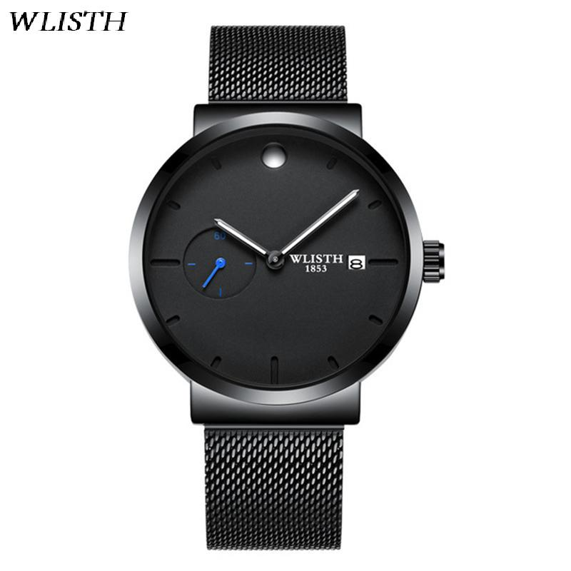 WLISTH Luminous Men's Luxury Watch Calendar Quartz Men Watches Fashion Wristwatch With Small Timer Simple Black Jewelry For Male adriatica часы adriatica 8241 5265q коллекция twin