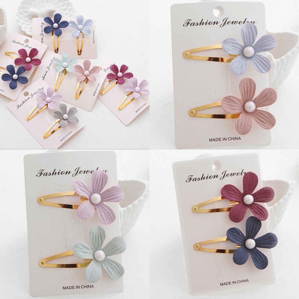 Thời trang Bé Gái Hoa Ngọc Trai Tóc Phụ Kiện Barrette Hawaii Tiệc Cưới 2 cái/bộ