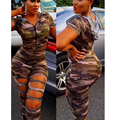Jumpsuit Overalls Elegant Jumpsuits Sexy Women Hooded Short Sleeve Camouflage Bodycon Playsuit Long Hole Trousers 2016 autumn