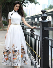 Chinese style 2017 Women Spring Summer Fashion Brand Flower Bird Embroidery Long casual maxi beach Organza Dress plus size 9256