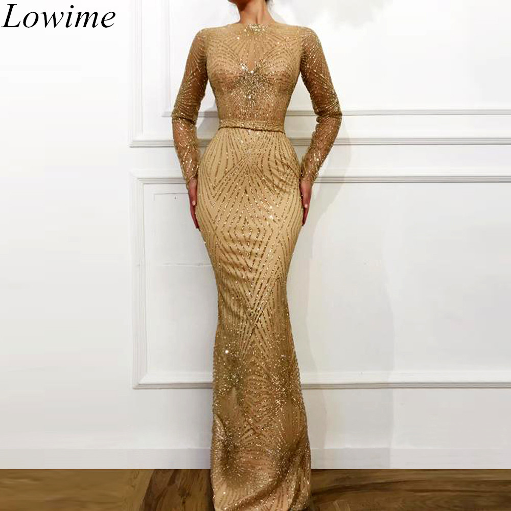 New Arrival Sexy Champagne   Evening     Dresses   2019 Long Mermaid Sequin Long Sleeves   Evening   Prom Party Gowns Dubai Robe De Soiree