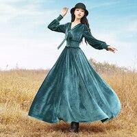 Jessica S Store New Autumn Winter Women Vintage Elegant Slim Waist V Neck Long Sleeve Green