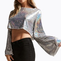 Sexy Women Sequin Top Flare Sleeve Luxury Shiny Crop Top O Neck Glittering Long Sleeve Casual