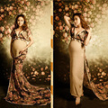 Maternity Cotton Gown V-Neck Lace Maternity Dresses for Photography Shoot Pregnant Maternity Photo Props Baby Show L1186