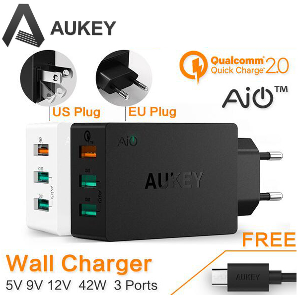AUKEY Original Quick Charge 2 0 3 Port USB Wall Charger Micro USB Cable For Xiaomi