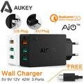 AUKEY Original de Carga Rápida 2.0 3 Puertos USB Cargador de Pared + micro usb cable para xiaomi samsung smart móvil rápido cargador