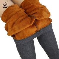 CHRLEISURE XL 6XL Plus Size Winter Leggings Women Pants Warm Velvet Leggings Thick Jeggings Slim High