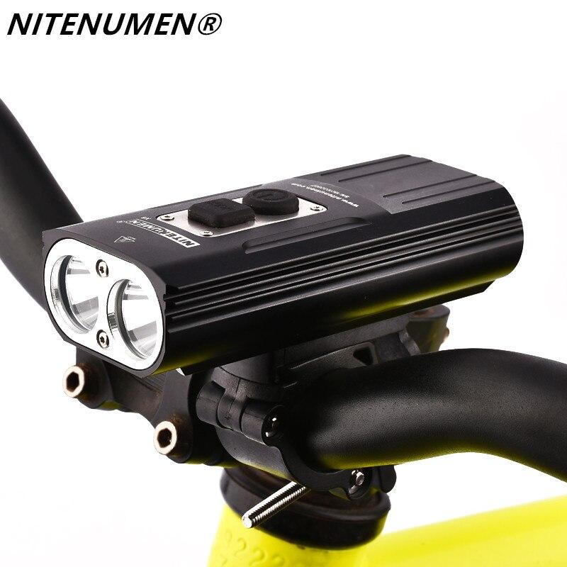 Niténumen 1800 Lumens vélo avant lumière vélo phare vélo Rechargeable lampe de poche étanche 6400 mAh LED lampe frontale pour vtt