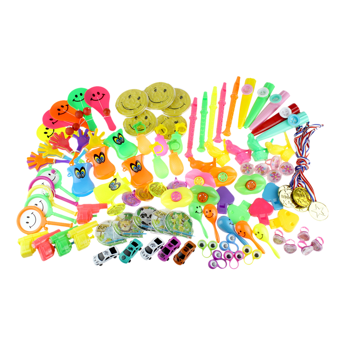 100Pcs Children Small Toy Prop Set For Party 20 Type Mixed Birthday Party Blow Outs Wedding Celebration Noice Maker Kid Toys