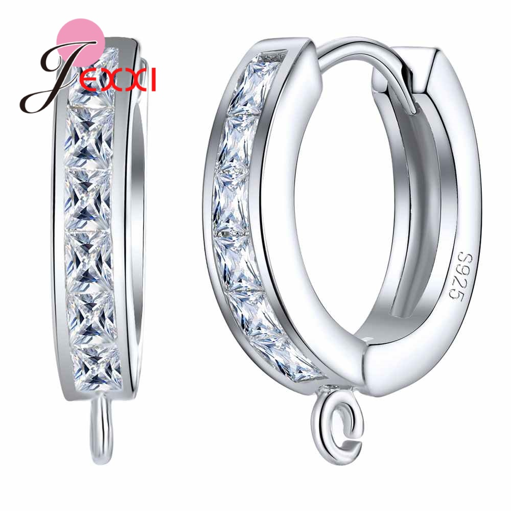 JEXXI High Quality 925 Sterling Silver Hook Earrings Findings Clear Cubic Zirconia Components Jewelry For Woman Accessory