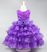 2017 new summer Girls Kid 3D Flowers princess dress comfortable cute baby Clothes Children Clothing 20W