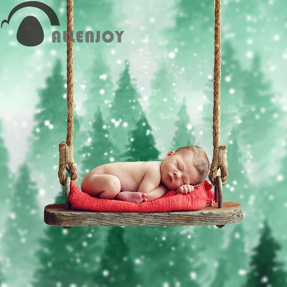 Allenjoy photography backdrop bokeh green forest watercolor baby background photocall photobooth for kids customize