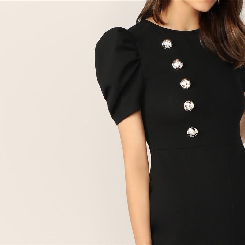 SHEIN Button Embellished Puff Sleeve Wide Leg Jumpsuit Elegant Spring Autumn Women Short Sleeve High Waist Jumpsuit 11