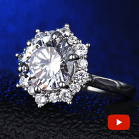Round Cut 9.4mm NOT FAKE S925 Sterling Silver Ring SONA Diamond Halo Fine Ring Unique Style Love Wedding Engagement