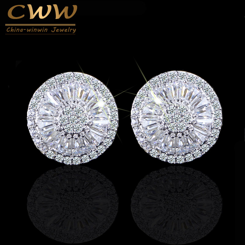 CWWZircons New Fashion Brand Jewelry Silver Color Full Cubic Zirconia Pave Setting Round Piercing Stud Earrings For Women CZ307 цена