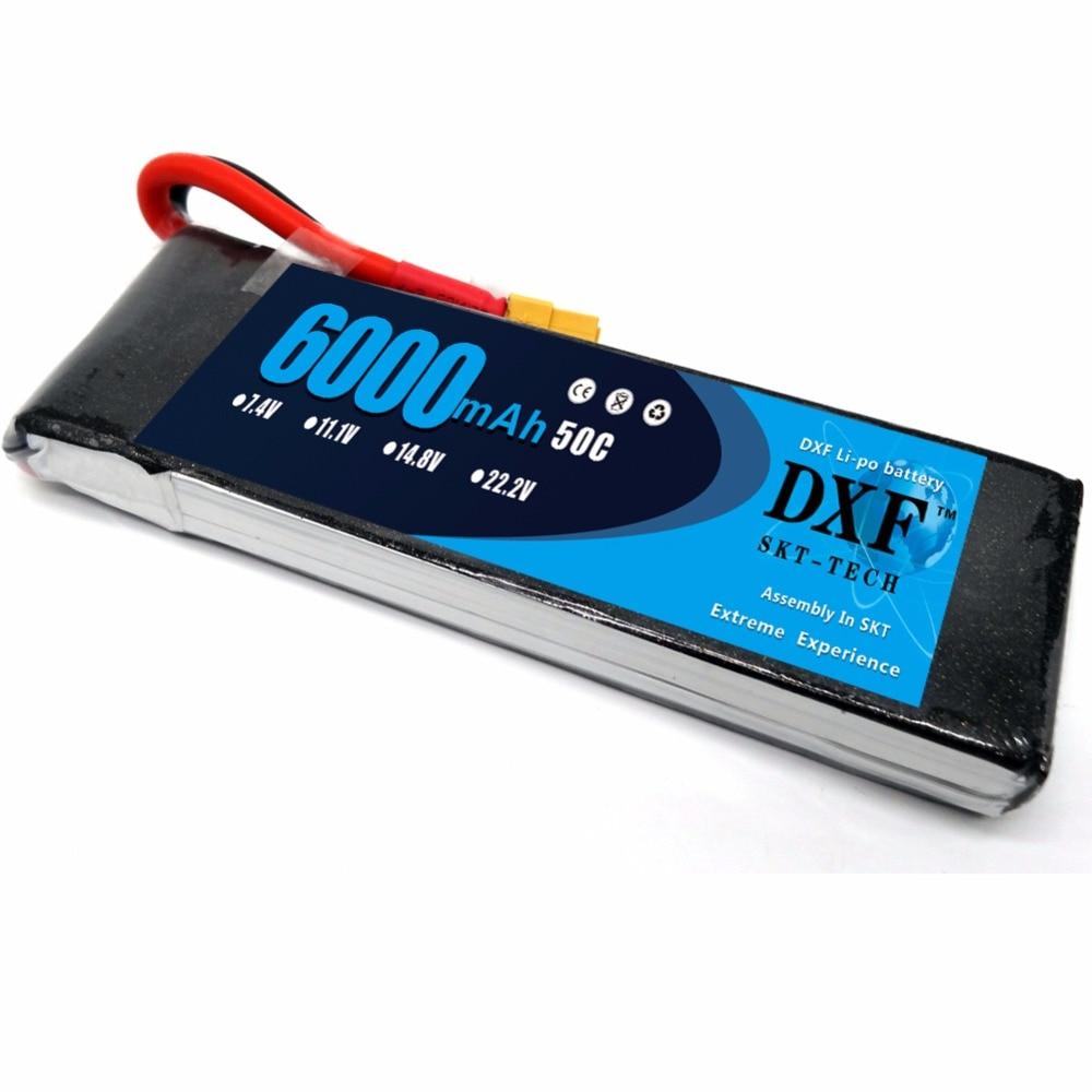 DXF 7.4 V 6000 mAh 2 S Lipo batterie 50C-100C pour voitures RC Traxxas Slash HPI Truggy camions avec connecteur XT60 (155*48*19mm
