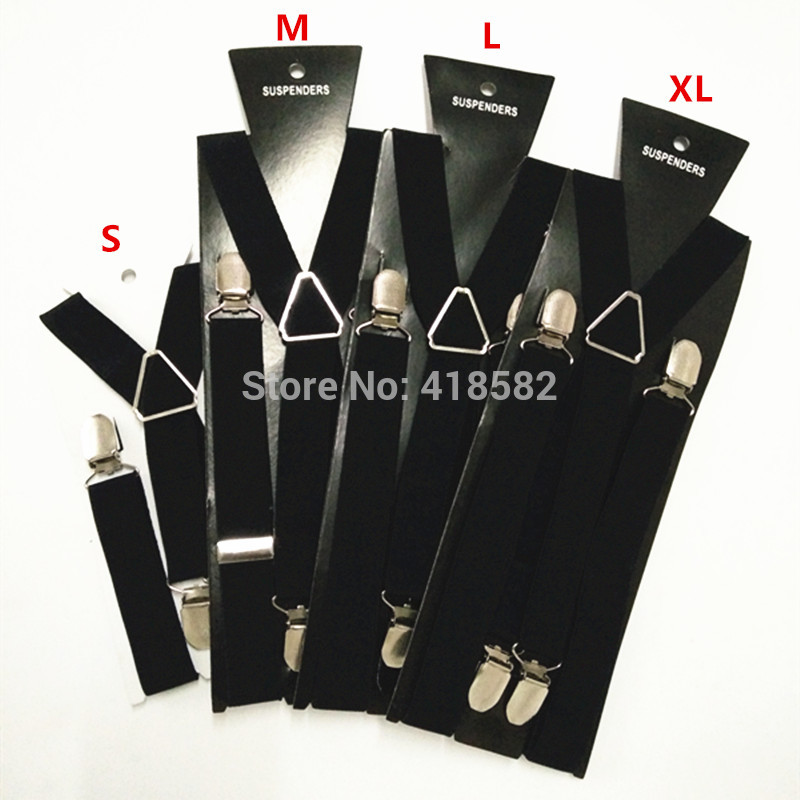 BD002-Black New Fashion 4 Clips Men Suspenders 4 Sizes For Boys And Girls Men And Women X-back Suspenders