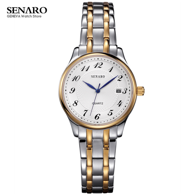 SENARO NEW Fashion women watches 316L Stainless Steel Case Bracelet Quartz Wrist Watch Luxury Ladies Clock montre femme S20 fashion women watches women crystal stainless steel analog quartz wrist watch bracelet luxury brand female montre femme hotting