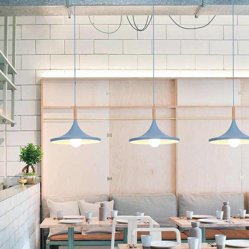 Nordic ร้านอาหารร้านเสื้อผ้าตาราง study bar ห้องนอนโคมไฟข้างเตียงเด็ก macaron สามหัว led จี้โคมไฟ