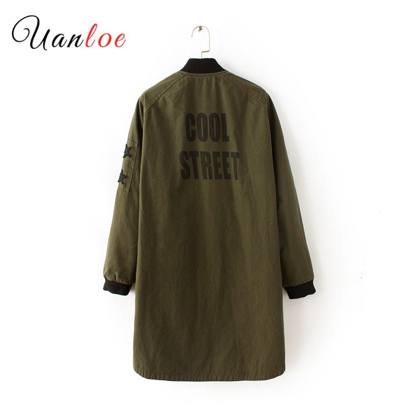 2019 Oversize Women Long Sleeve   Basic     Jacket   Military Army Green Long Bomber   Jackets   Autumn Female Outwear Coat