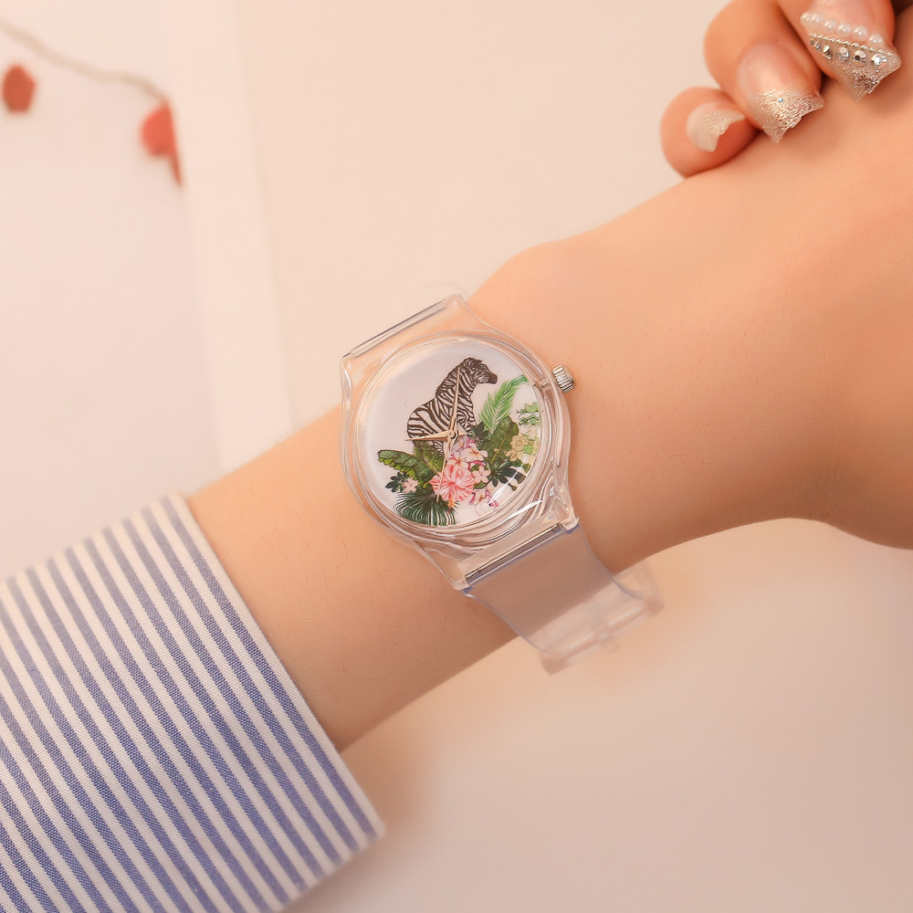 Watch Transparent Clock Silicone Watches Women Sport Quartz Wristwatches Novelty Crystal Ladies Watch Cartoon Reloj Mujer &Ff