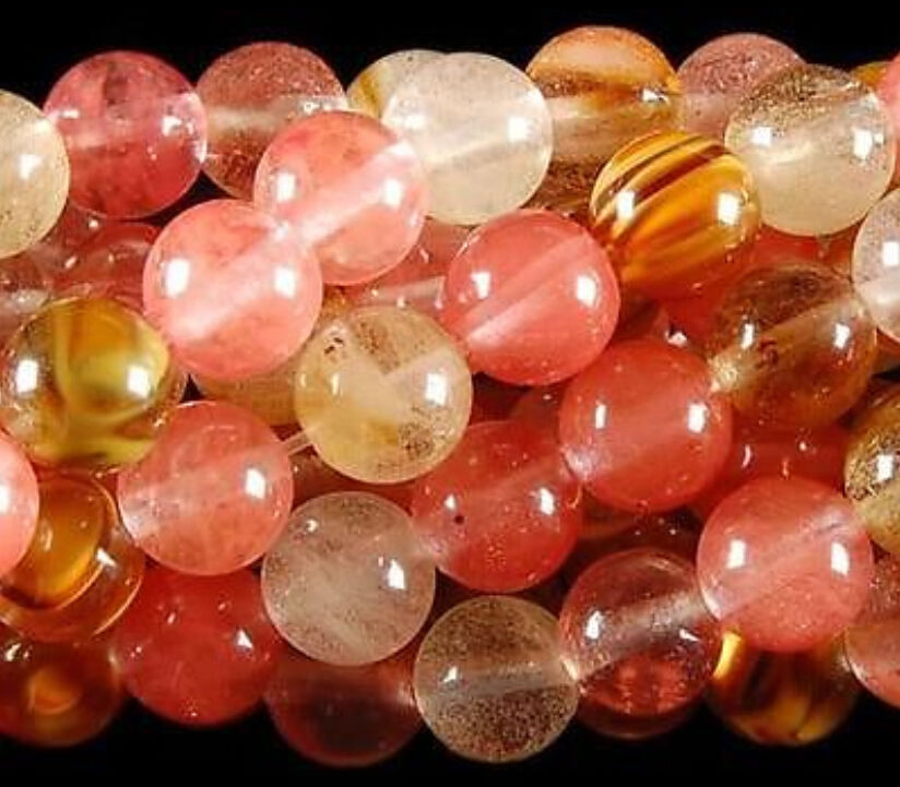 wb 003093 Wholesale 5 Strands Natural 8mm Watermelon Tourmaline Gems Round loose Beads 15