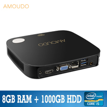 amoudo intel core i5-4200U 8gb ram+1000gb hdd windows 10 system wifi bluetooth gigabit network i5 4k mini pc desktop for office