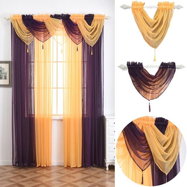 Solid Perspective Valance Curtains With Spike For Living Room Bedroom Home Decorative Window Pelmet Size 45