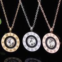 Moda oriente cristal numerais romanos rodada cor de ouro/cor de rosa de ouro/prata cor titanium aço colar