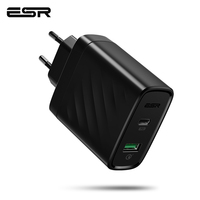 ESR USB C PD Charger 36W Dual Port Charger Portable Compact Power Delivery Wall Charger for iPhone X/XS/XR/XS Max iPad Pro 2018