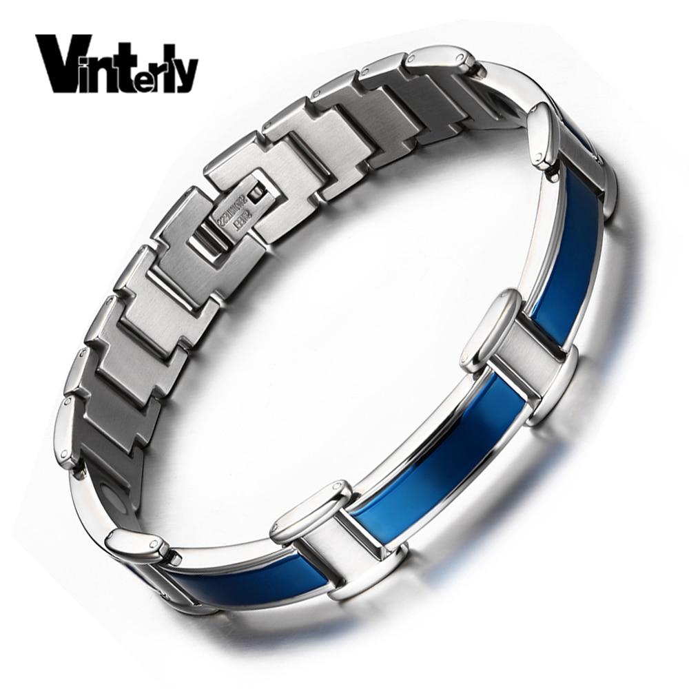 Vinterly Mens Blue Carbon Fiber Bracelet Chain Health Energy Gelang Kesehatan Bio Magnetic Punk Biru Stainless Steel Penyembuhan Energi Ion Germanium Bangles Untuk