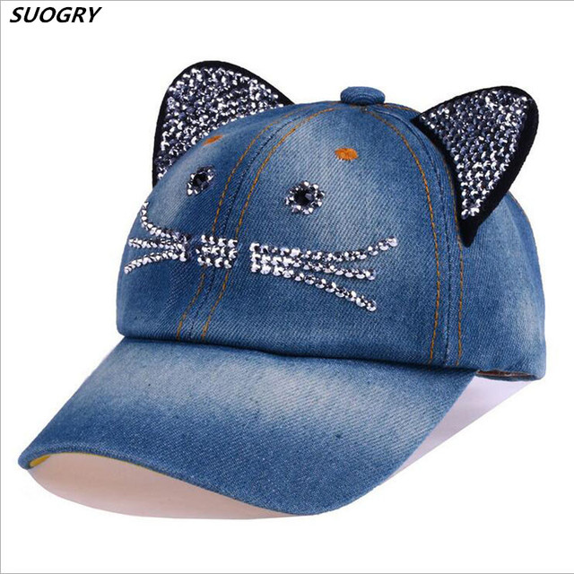 Denim Kawaii Cat Baseball Cap for Girls Summer Casual Bone Jeans Chapeau with Rhinestone Sun Hats