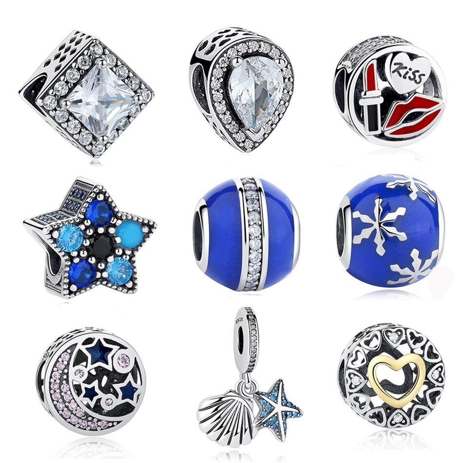 Genuine 925 Sterling Silver Beads CZ Star/Starfish/Heart Shape Bead Fit Original Pandora Charm Bracelet DIY Berloque