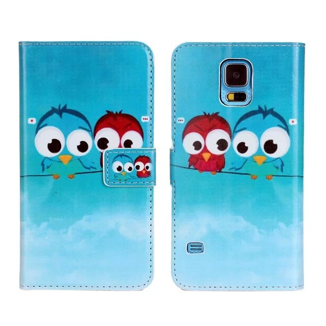 Blue Owl PU Leather Wallet Case Cover For Samsung Galaxy S5 i9600 with Stand Function and Card Holder Phone Case Free