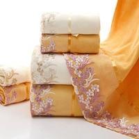 3pcs Lot Towel Set Lace Border Embroidery 100 Cotton 2pc Face Towel 1pc Bath Towel Wholesale