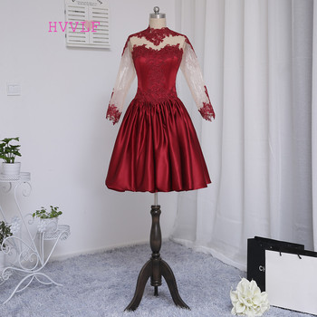 HVVLF Burgundy Cocktail Dresses 2019 A-line Long Sleeves Satin Appliques Lace See Through Short Mini Homecoming Dresses