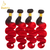 HairUGo Hair Malaysia Hair Bundles Body Wave Bundles Can Buy With Closure Omber Black And Red Color Non Remy Hair Bundles