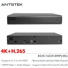 ANTSTEK 8CH 16CH H.265 4K(8MP) Onvif NVR Support 2×3.5 inch SATA HDD with P2P Smartphone App support HDMI Video Audio output